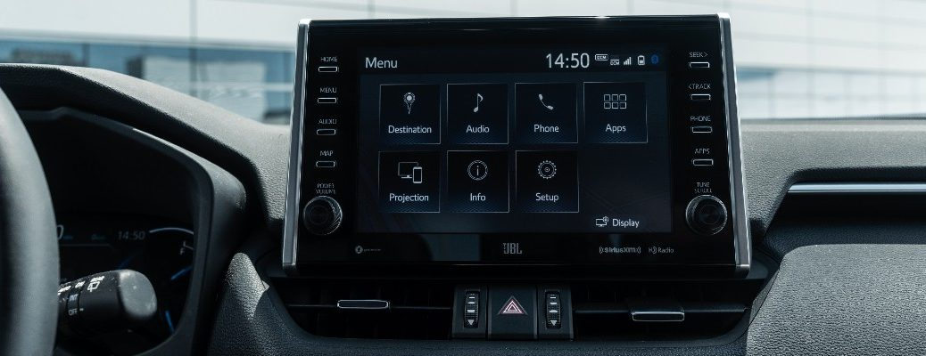 A photo of a touchscreen used by several Toyota vehicles.