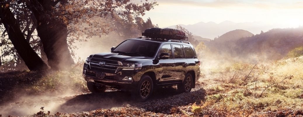 2021 Toyota Land Cruiser Midnight Black Metallic Front and Side View