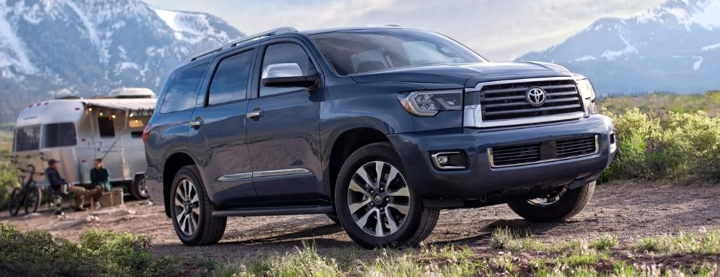 2021 Toyota Sequoia in a camping area. Learn about the safety features