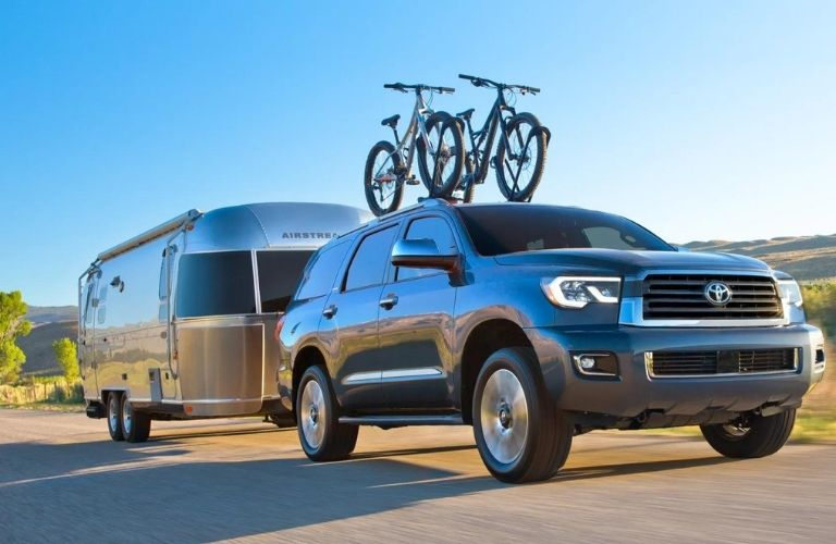 2021 Toyota Sequoia towing a trailer