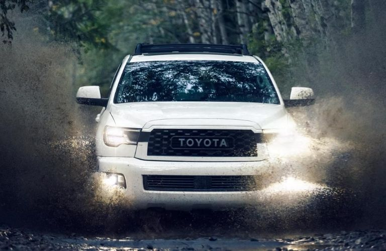 Front view of a White 2021 Toyota Sequoia