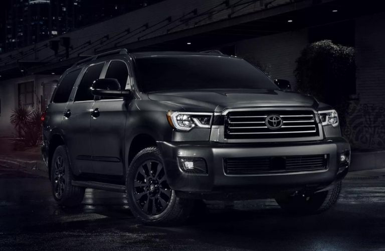 Front view of Midnight Black 2021 Toyota Sequoia