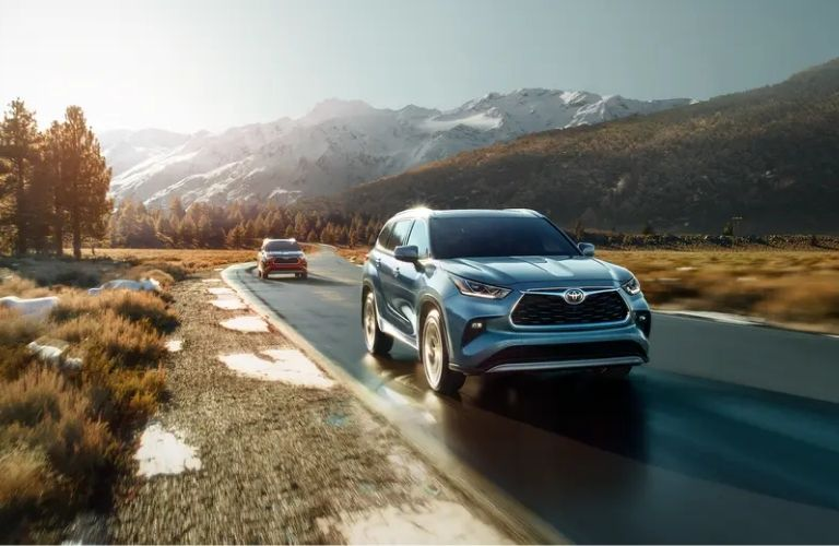 Front-view of the 2021 Toyota Highlander on road