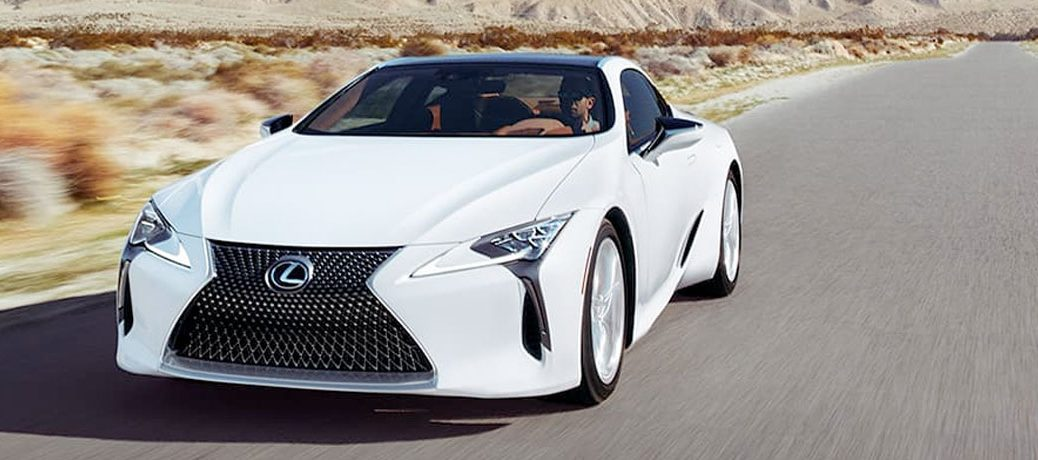 white lexus lc on a road