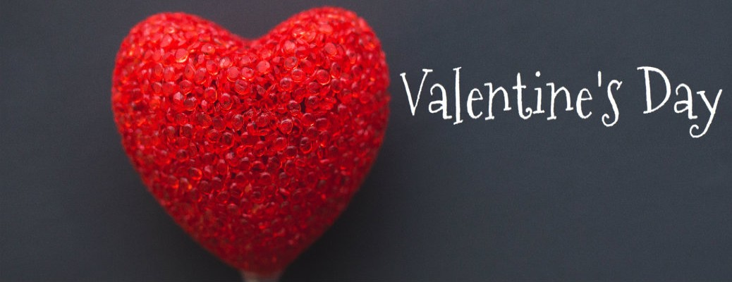 Valentine's Day graphic with Red heart and white text