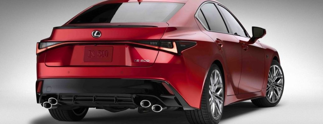 Exterior shot of the rear end of the 2022 Lexus IS 500 F Sport