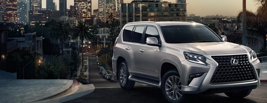 2021 Lexus GX parked at the height in front of a city