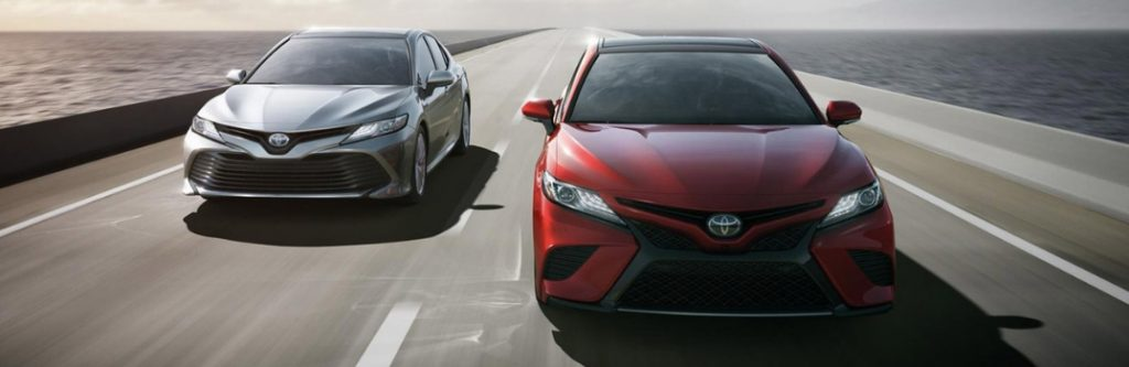 Two 2019 toyota camry models driving
