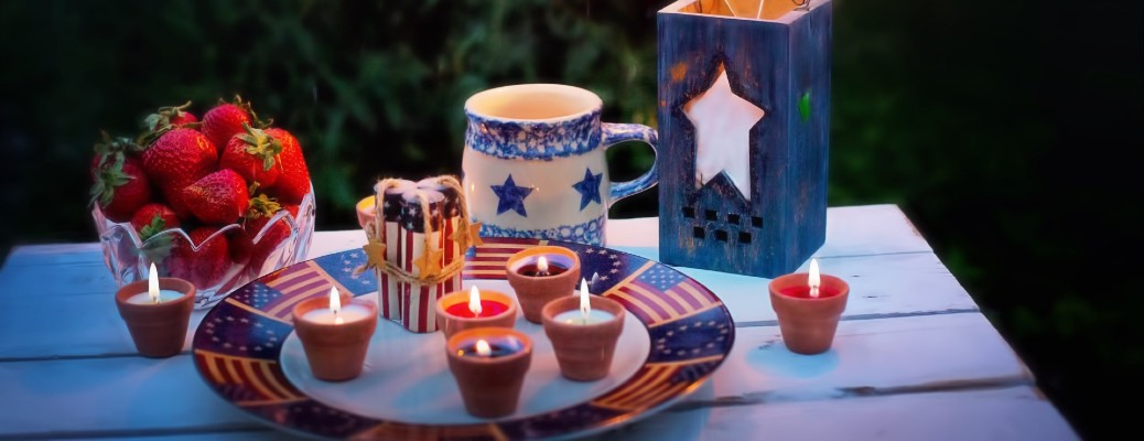 Stock photo of july 4th placement on table at night