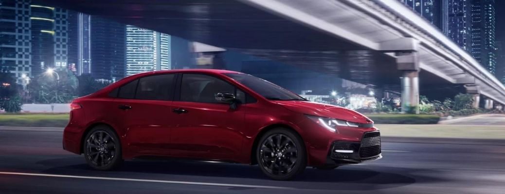 2022 Toyota Corolla Red driving on the road