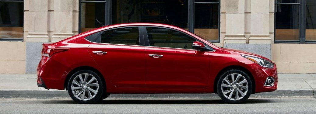 Passenger angle of a red 2020 Hyundai Accent