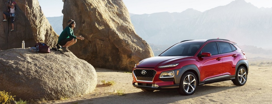 2021 Hyundai Kona red side front view