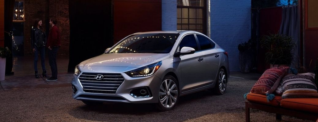 2021 Hyundai Accent parked in front of a building.
