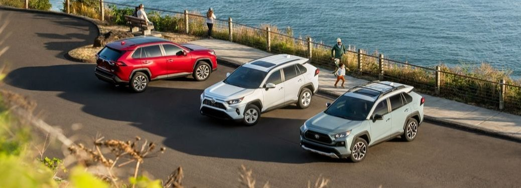 Red, White and Gray 2019 Toyota RAV4 Models Parked Next to the Ocean
