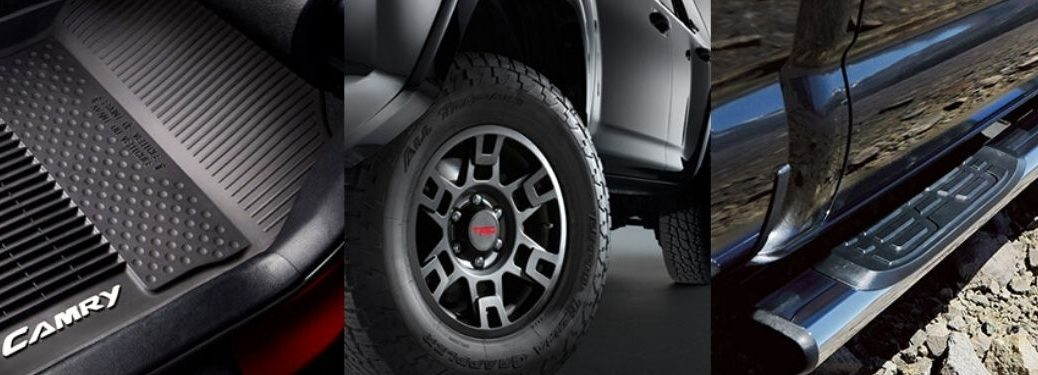 Collage of Toyota Accessories - Toyota Camry Floor Mats, TRD Wheels and Toyota Truck Tube Steps