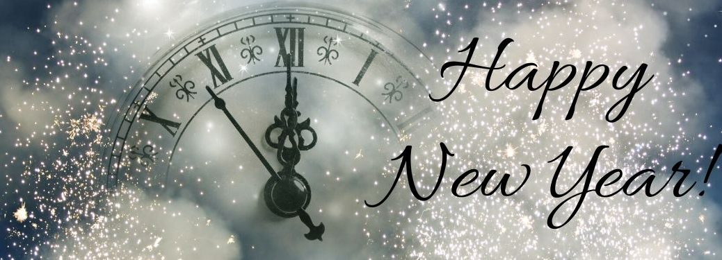 Silver Background with Clock Striking Midnight and Black Happy New Year! Text