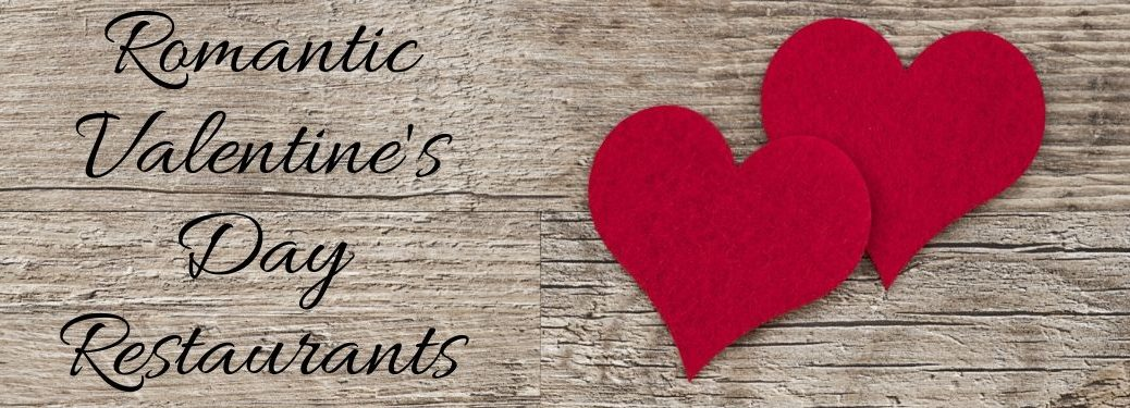 Two Red Hearts on a Wood Background with Black Romantic Valentine's Day Restaurants Text