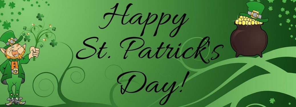Cartoon Pot of Gold and Leprechaun on a Green Background with Black Happy St. Patrick's Day Text
