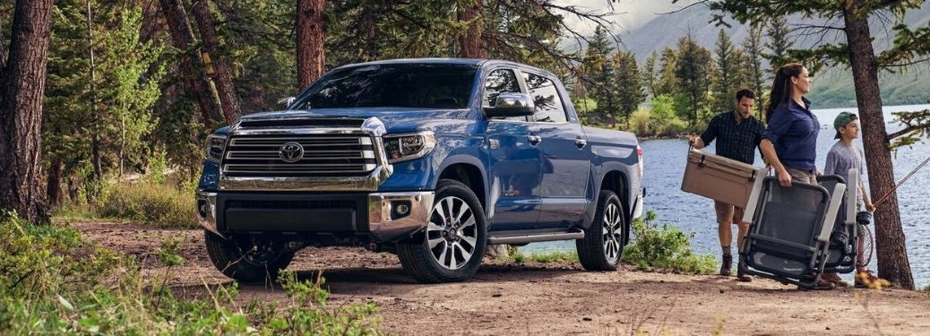 Blue 2020 Toyota Tundra and Family Next to a Lake