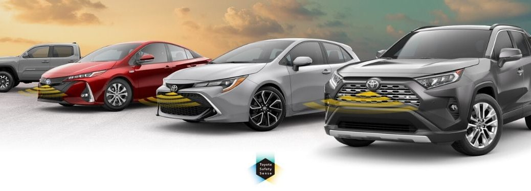 Toyota Models on White and Sky Background with Radar Illustrations and Toyota Safety Sense Logo
