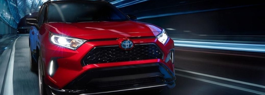 Red 2021 Toyota RAV4 Prime Front Exterior in a Tunnel