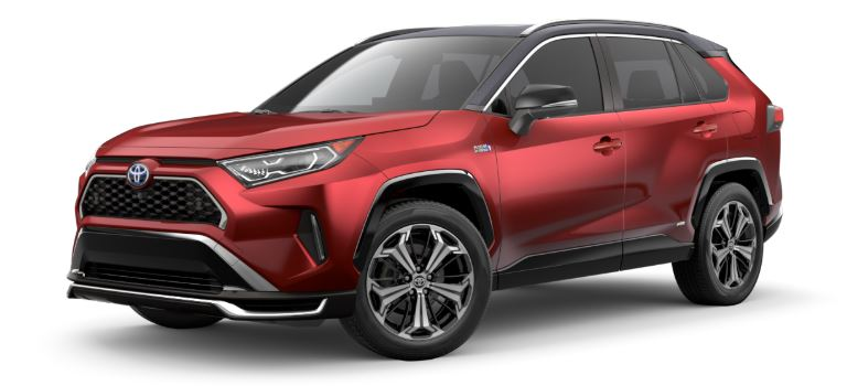 Supersonic Red 2021 Toyota RAV4 Prime with Midnight Black Metallic Roof Panel on White Background