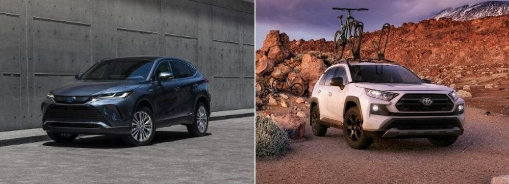 Blue 2021 Toyota Venza Front Exterior in Parking Lot vs White 2020 Toyota RAV4 TRD Off Road on a Trail