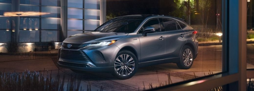 Gray 2021 Toyota Venza in a Driveway at Night