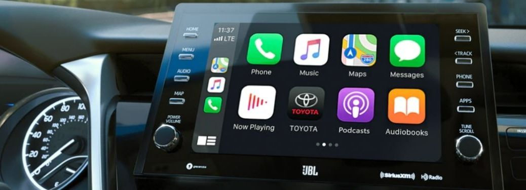 Close Up of 2021 Toyota Camry Touchscreen Display with Apple CarPlay