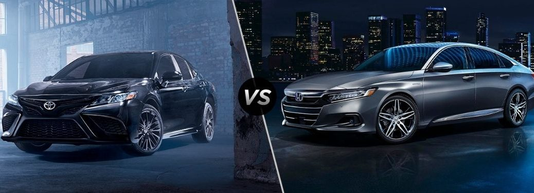 Black 2021 Toyota Camry in Warehouse vs Silver 2021 Honda Accord on a Street at Night