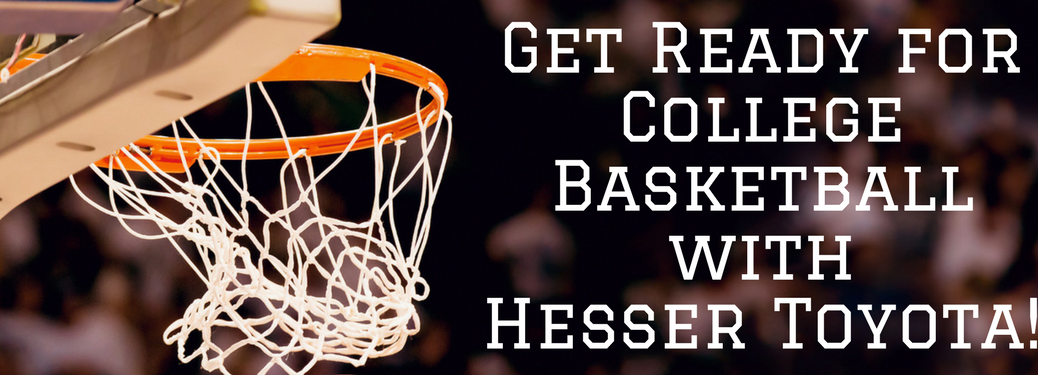 "basketball rim with text ""get ready for college basketball with hesser toyota"" next to it"