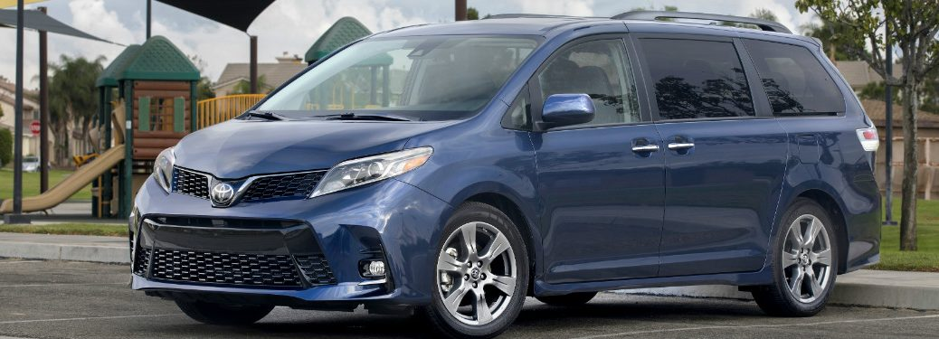 front and side view of blue 2019 toyota sienna