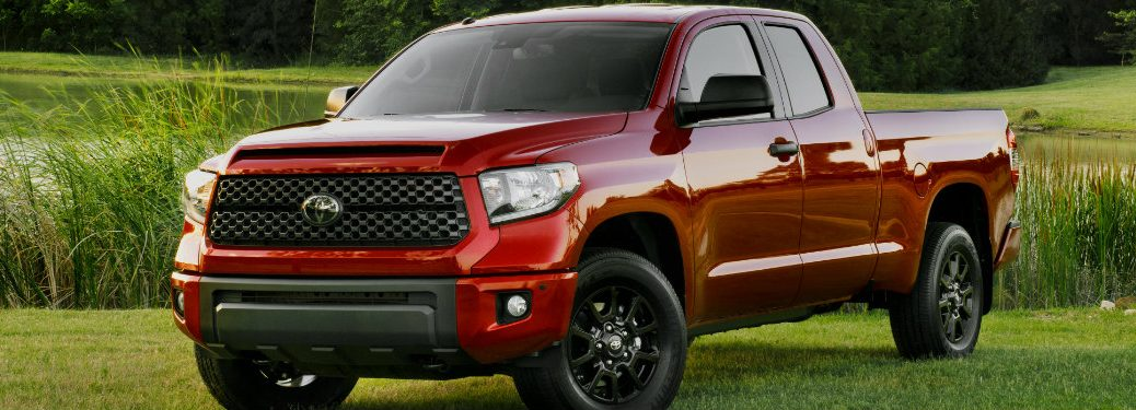 front and side view of red 2019 toyota tundra