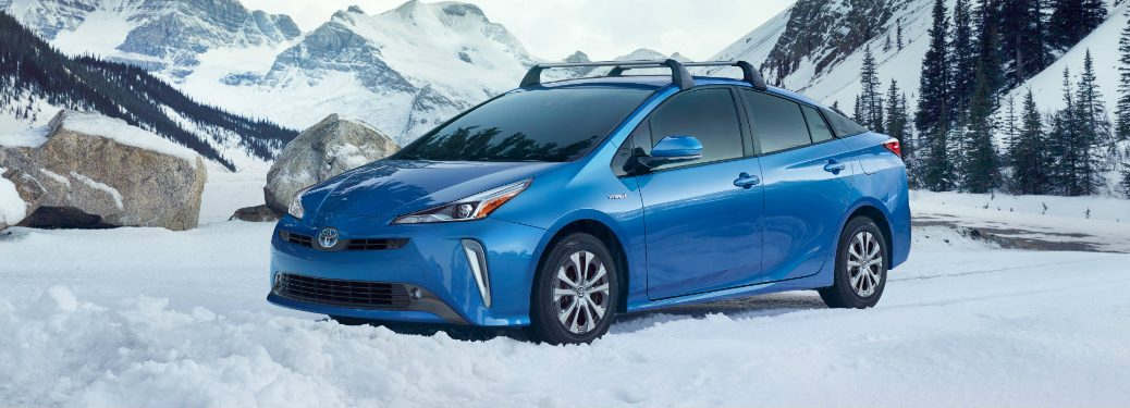 front and side view of blue 2019 toyota prius awd-e