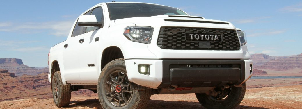 front and side view of white 2019 toyota tundra trd pro