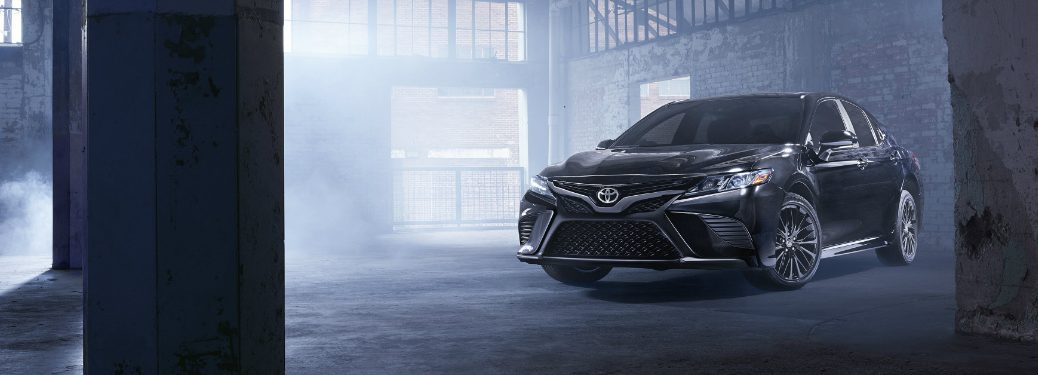 front and side view of black 2019 toyota camry