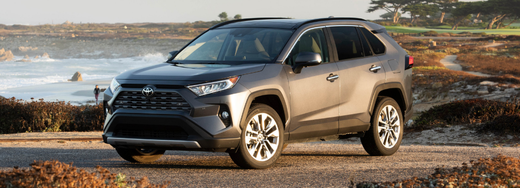 front and side view of gray 2019 toyota rav4