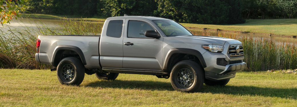 side view of gray 2019 toyota tacoma