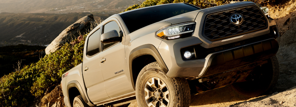 front and side view of gray 2020 toyota tacoma