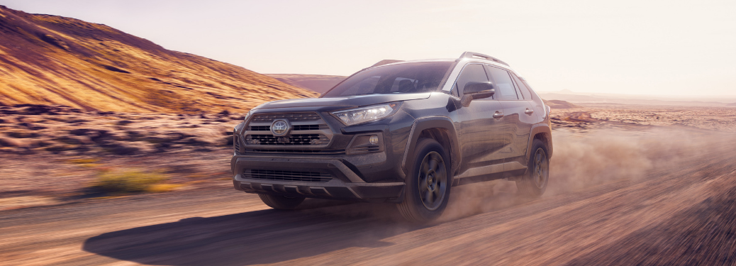 front and side view of gray 2020 toyota rav4 trd off-road