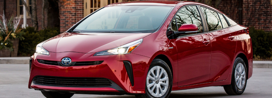front and side view of red 2019 toyota prius
