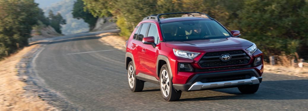 front and side view of red 2019 toyota rav4