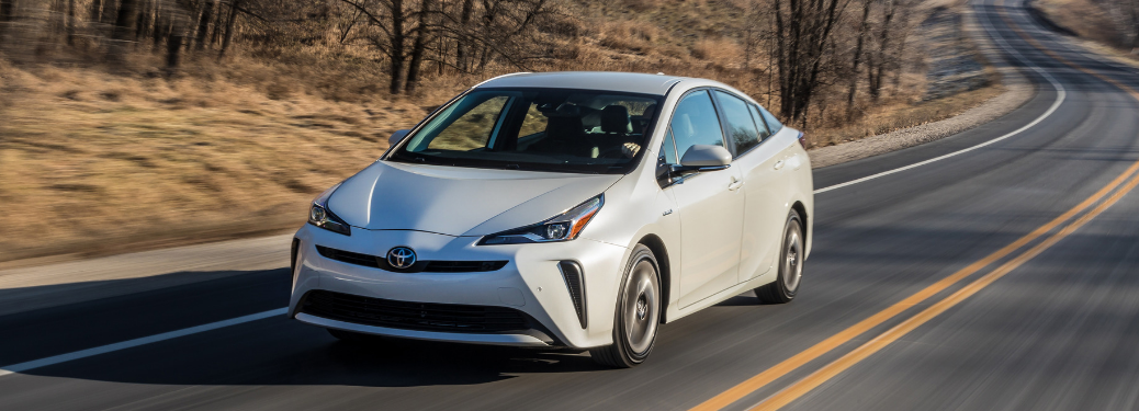 front and side view of white 2019 toyota prius