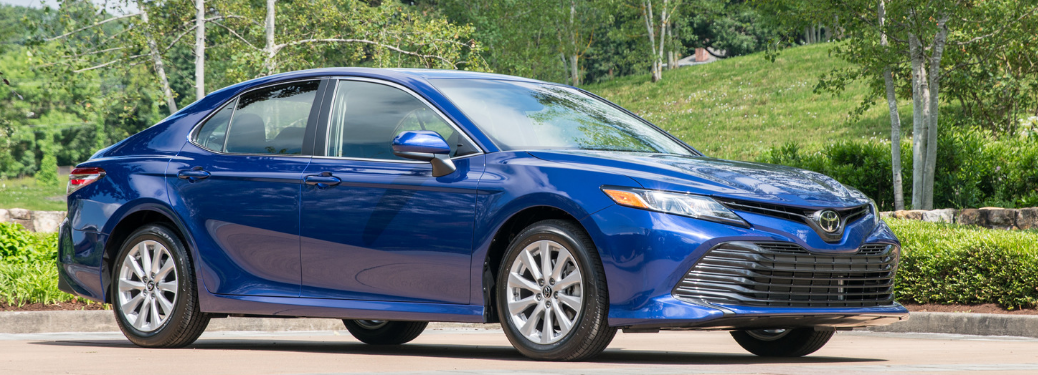 front and side view of blue 2019 toyota camry