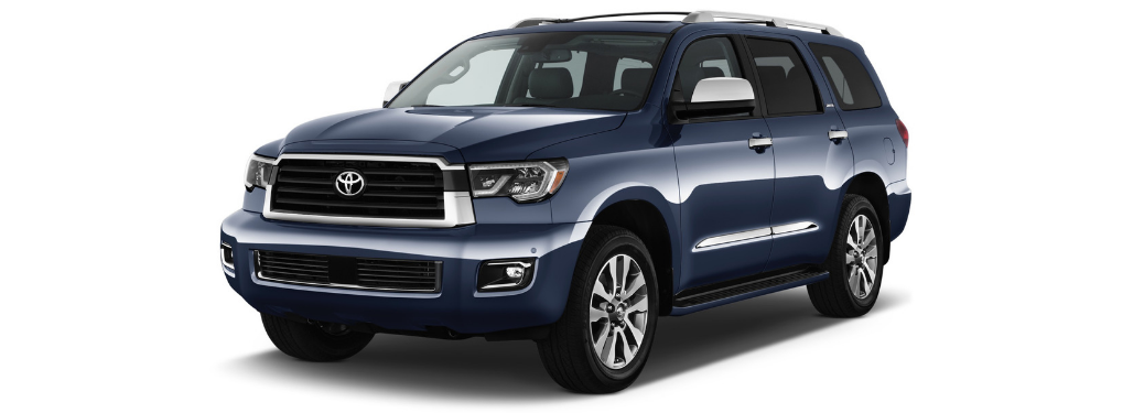 front and side view of blue 2019 toyota sequoia