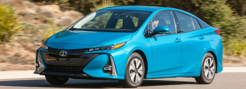 front and side view of blue 2019 toyota prius prime
