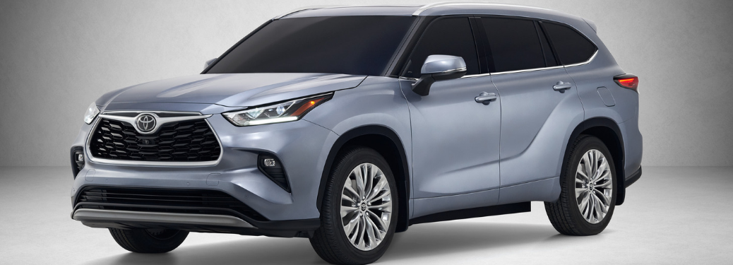front and side view of blue 2020 toyota highlander
