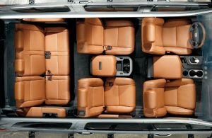 Overhead view of the interior passenger seating are of the 2020 Toyota Sequoia