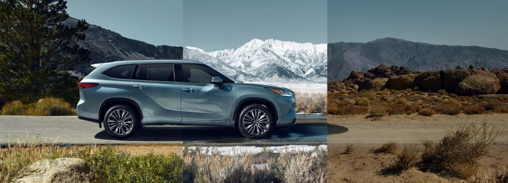 2020 Toyota Highlander from exterior passenger side with changing terrains