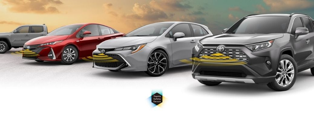 Toyota models with safety graphic on front grilles